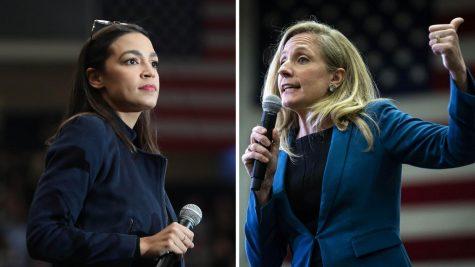 Images of representatives Alexandria Ocasio-Cortez and Abigail Spanberger