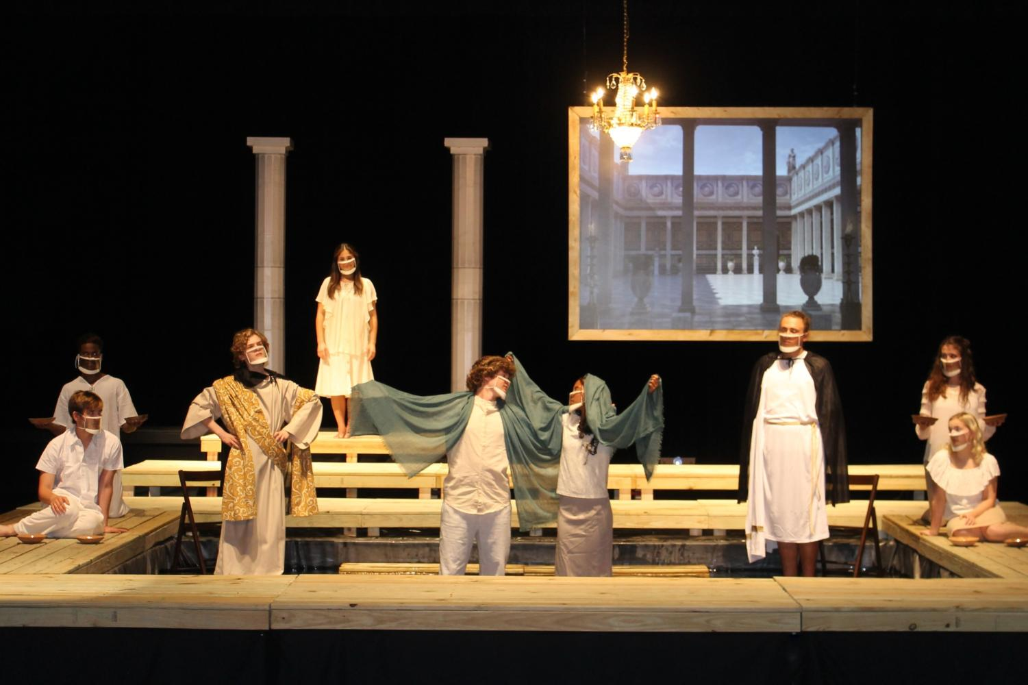 Cast members of Metamorphoses during a performance.